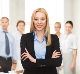 smiling businesswoman in office