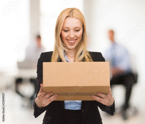 businesswoman with cardboard box