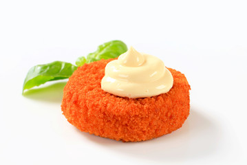 Fried cheese or fish with mayonnaise