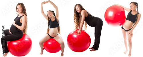 Collage of Pregnant fitness woman doing exercise on fitball