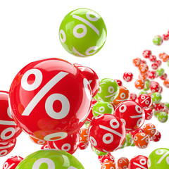 Rollende bunte Bälle mit Prozenten / 3D-Illustration