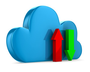 Cloud and arrows on white background. Isolated 3D image