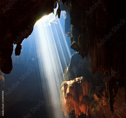 Light beam into the cave in Thailand