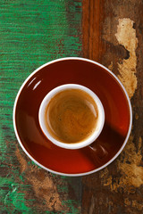 espresso coffee cup on rustic table