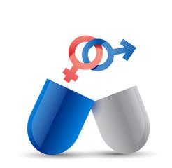 Concept pill for sex illustration design
