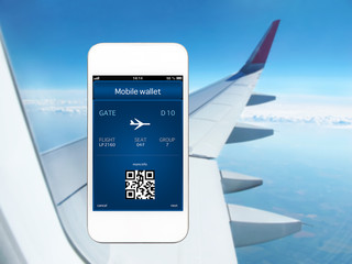 phone with mobile wallet and plane ticket against the background