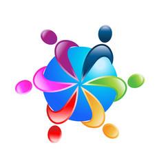 Teamwork around world logo vector