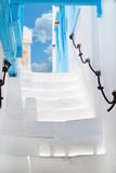 Fototapety The white old staircase on Mykonos island, Greece