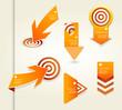 Set of orange labels for wide variety of use.