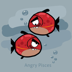 Angry horoscope: Pisces. Vector