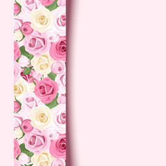 Vector pink card with roses.