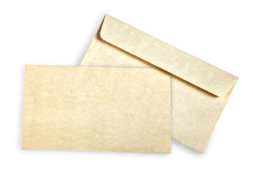 Beige card and envelope.
