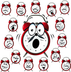 alarm clock cartoon with many facial expressions