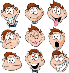man emotions - illustration of man with many facial expressions