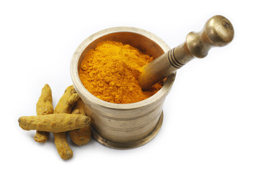 Turmeric with Powder in Antique Brass Mortar