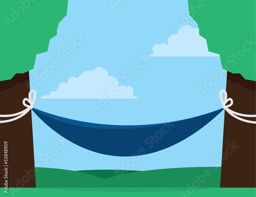 Hammock outside between two trees