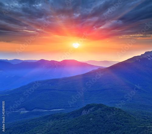 Fototapeta evening scene in mountains