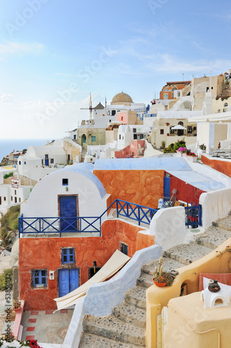 Oia white houses and windmill