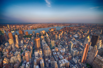 Manhattan. Beautiful aerial view of Midtown skyscrapers from the