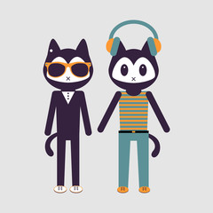 Illustration of two stylish kitty friends