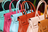 colorful leather handbags collection on florentine market poster