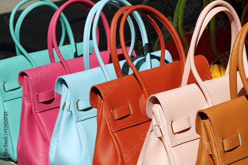colorful leather handbags collection on florentine market