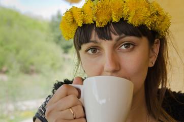 Woman with a dandelion headband