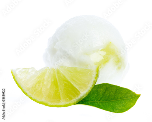 lime ice cream with lime slice and lime leaf