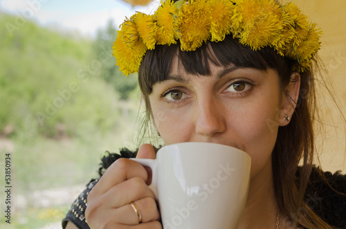 Woman with a dandelion headband