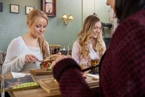 Young Female Friends Having Food Together