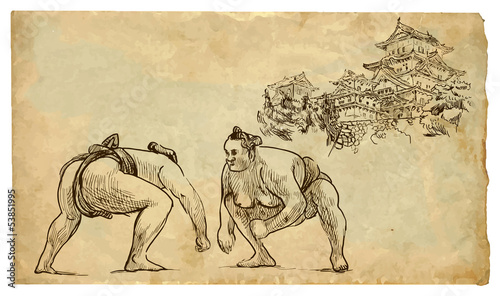 Fototapeta The scene of Japanese culture: Sumo