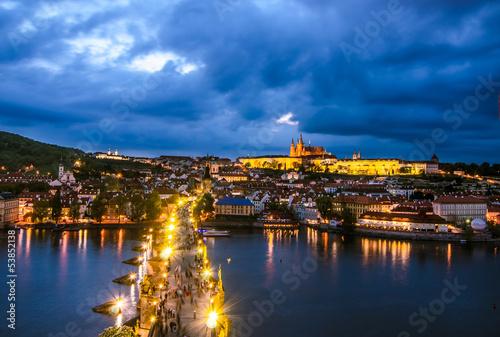 Foto op Canvas Praag Prague Castle, Charles Bridge and Vltava, Prague, capital of Cze