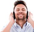 Happy man listening to music