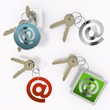 Illustration of a connecting email icon  on set of keys
