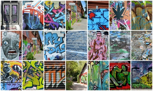 Deurstickers Graffiti collage collage...graffiti