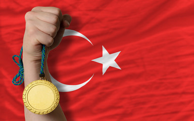 Gold medal for sport and  national flag of turkey