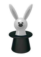 weißes kaninchen in zylinder