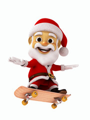 Santa Claus flying with skate board