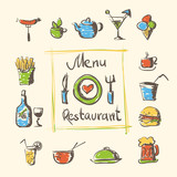 cafe menu food and drinks hand drawn icons