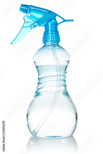Blue plastic spray bottle