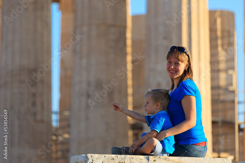 family in Acropolis,  Athens, Greece