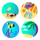 set if icons for beach and underwater
