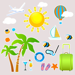 set if icons for summer holidays with stroke