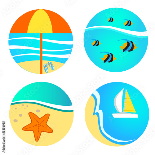 set if icons for beach
