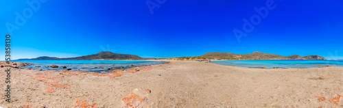 Greece elafonisos panoramic view of clear waters of sea with blu