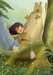 ragazza nella foresta