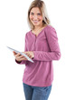 Cheerful woman using tablet pc
