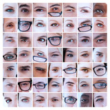 Collage of eyes of people and reading glasses