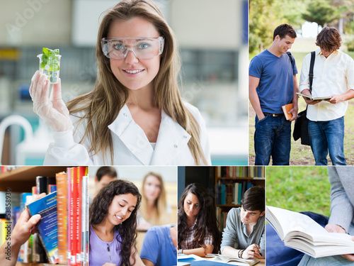Collage of pictures with various students