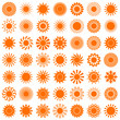 Orange/Red Sun Icons Big Set